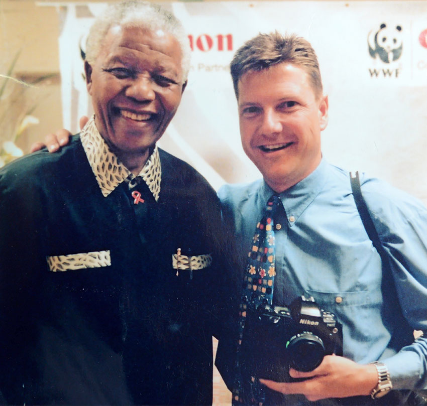 Deon Haak with the late Nelson Mandela at WWF Fundraiser